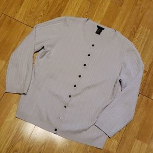 Theory dove gray cashmere cable knit cardigan L